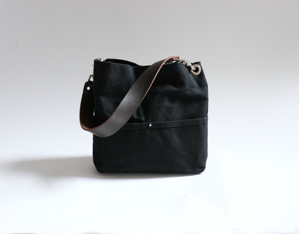 Mini Hobo Tote Bag in Black Waxed Canvas