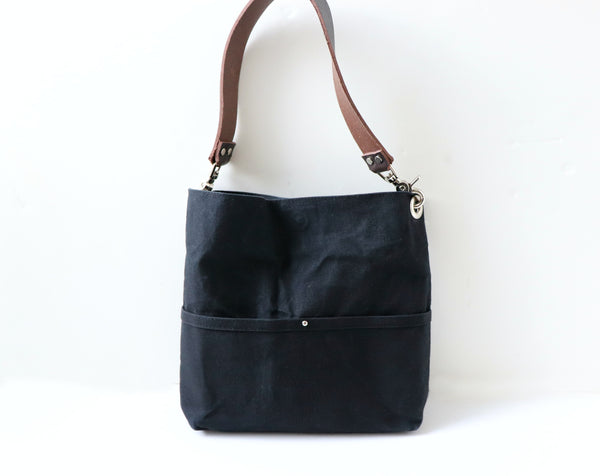 hobo tote in black waxed canvas