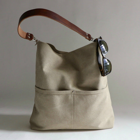 Bucket Bag in Natural Sun Faded Canvas