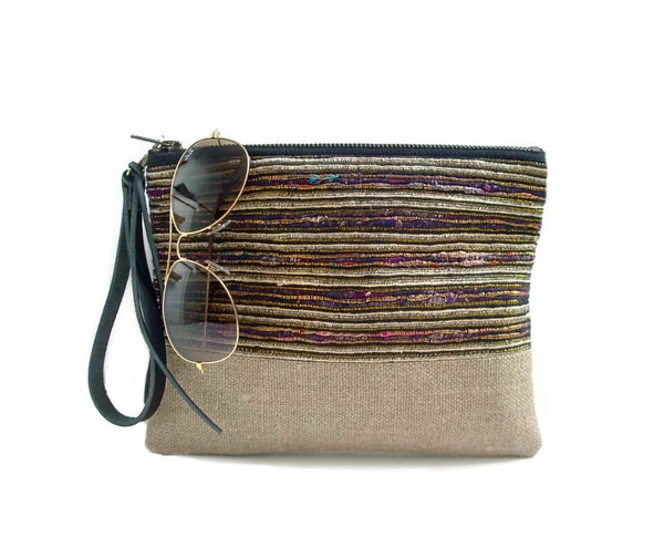 Summer Clutch Purse, Natural Woven Wristlet