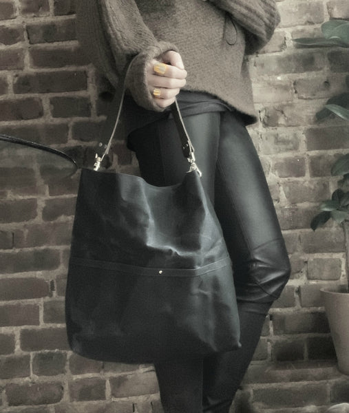 Medium Hobo Tote Bag in Black Waxed Canvas