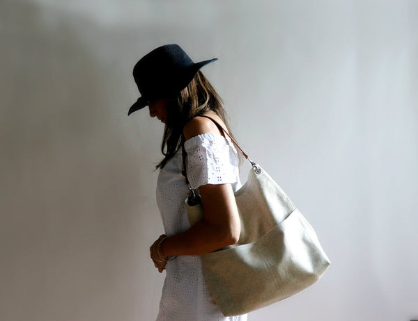 Bucket Bag, Summer Purse in Woven Jute