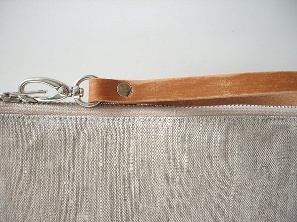 Wristlet, Simple Linen Clutch Purse