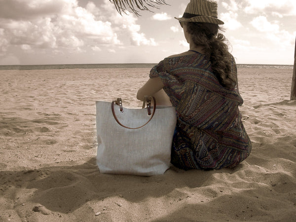 Minimalist Natural Linen Beach Bag