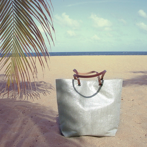 Metallic Silver Beach Bag