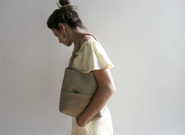 Mini Bucket Bag in Woven Jute