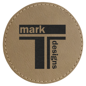 "Laserable Leatherette Patch Round 3"" with Adhesive"