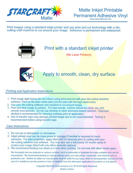 Starcraft Inkjet Printable Adhesive Media - Create With 614