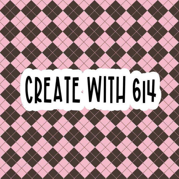 Create With 614 Pattern - Brown & Pink Argyle