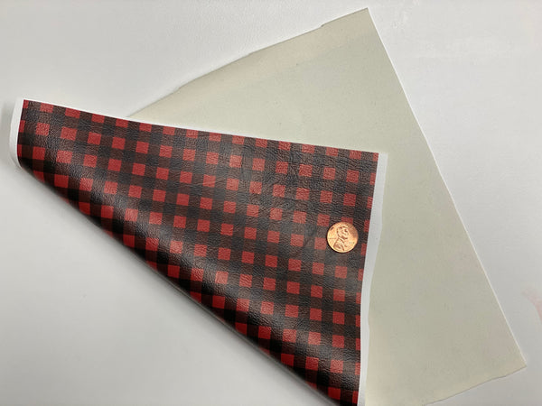 Premium Faux Leather - Red Buffalo Plaid - Create With 614