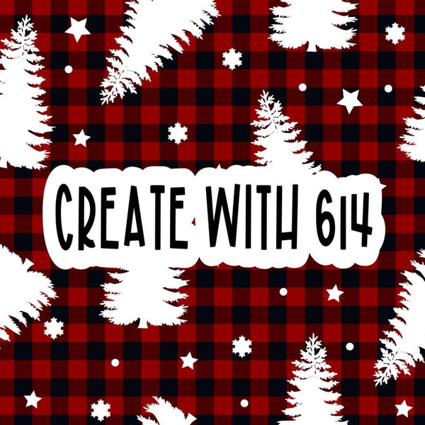 Create With 614 Pattern - Buffalo Plaid White Tree - Create With 614