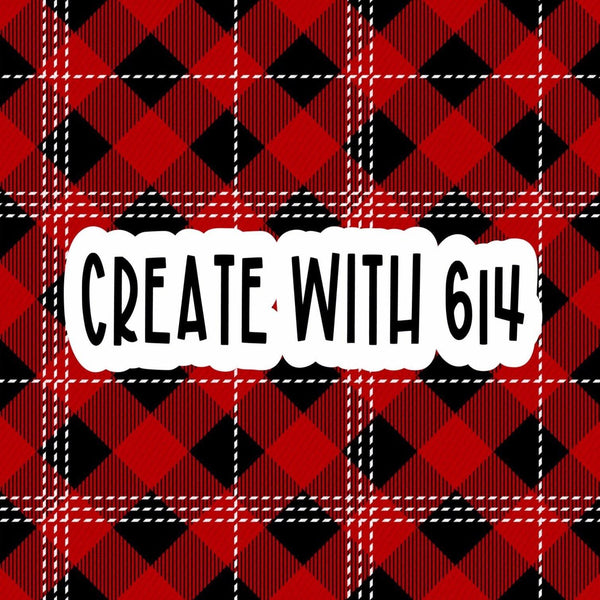 Create With 614 Pattern - Red Buffalo Plaid with White Lines - Create With 614
