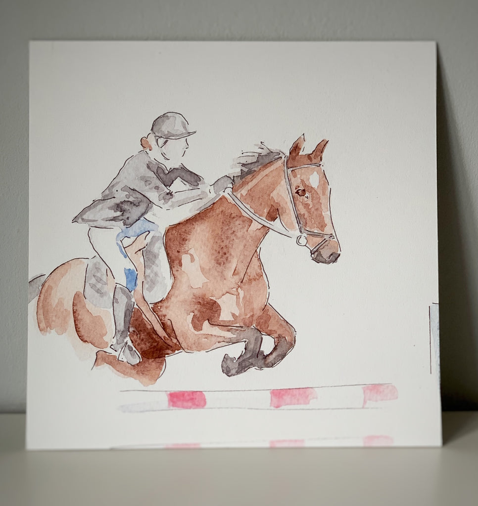 """Jump Off"" Show Jumper Limited Edition Board Mounted Print 12""x12"""