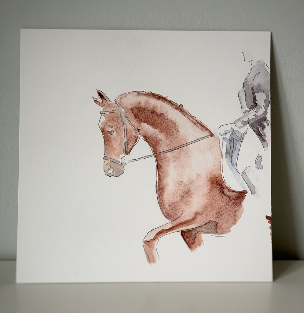 """Expression"" Dressage Limited Edition Board Mounted Print 12""x12"""