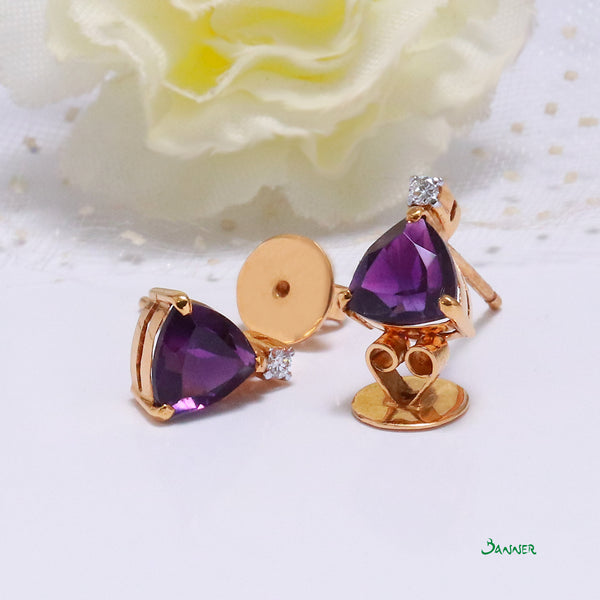 Amethyst and Diamond Triangle Earrings