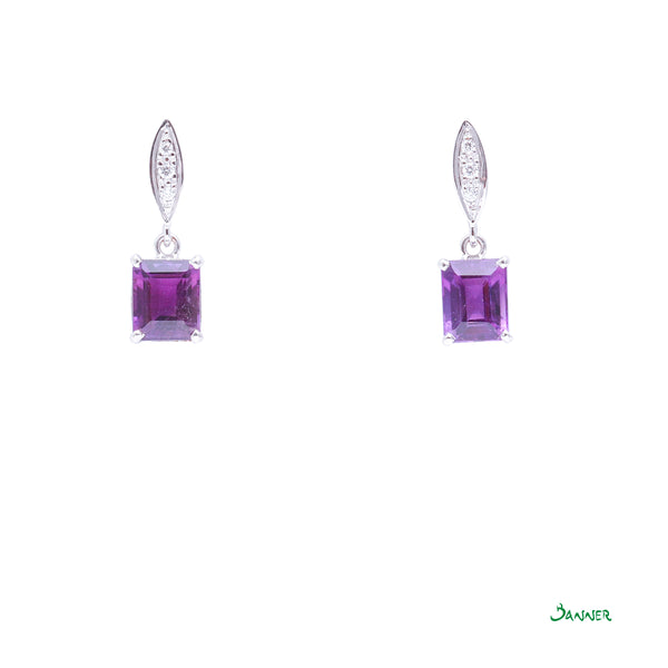 Amethyst Emerald-cut and Diamond Earrings
