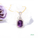 Amethyst Emerald-cut and Diamond Pendant