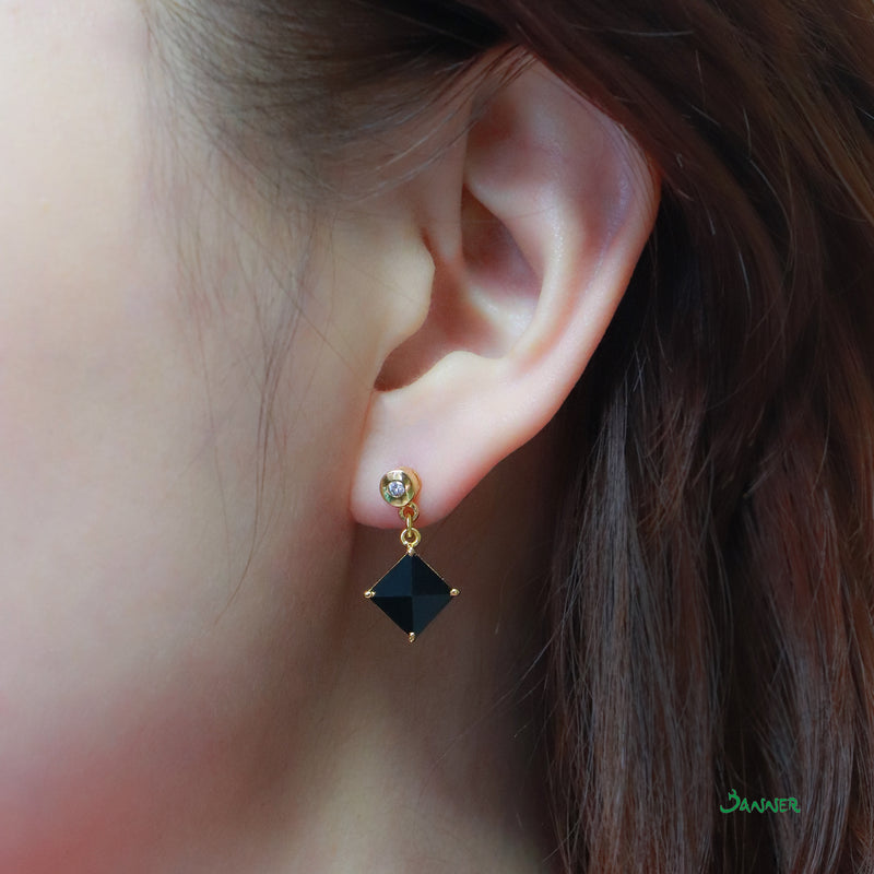 Black Jade and Diamond Earrings