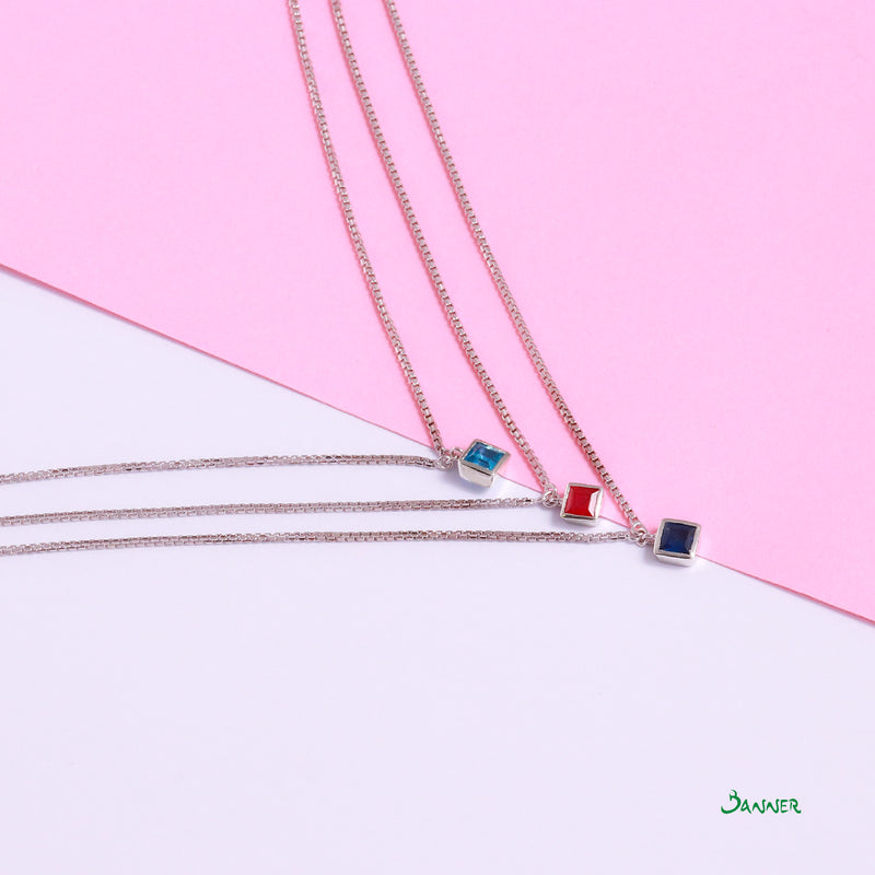 Blue Topaz,Ruby,Sapphire Emerald Cut 3-Step Necklace