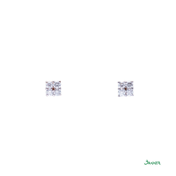 Diamond Thit Ywet Invisible Setting Earrings