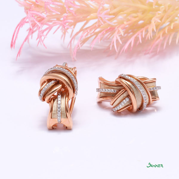 Diamond and Rose Gold Turban Earrings