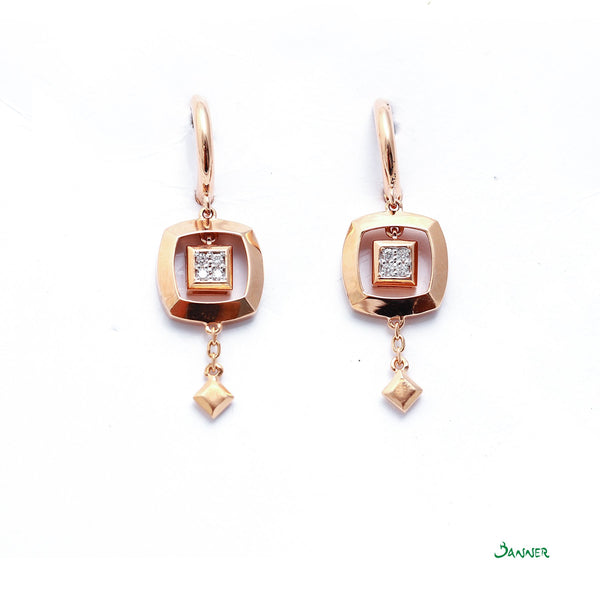 Diamond and Rose Gold Petite Earrings