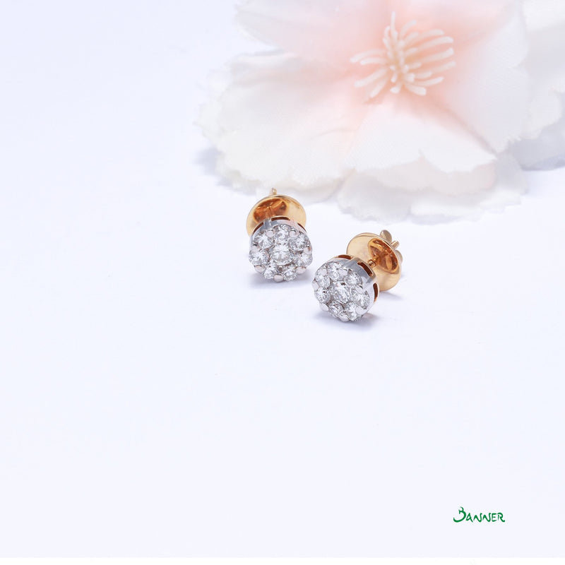 Diamond Illusion Setting Stud Earrings