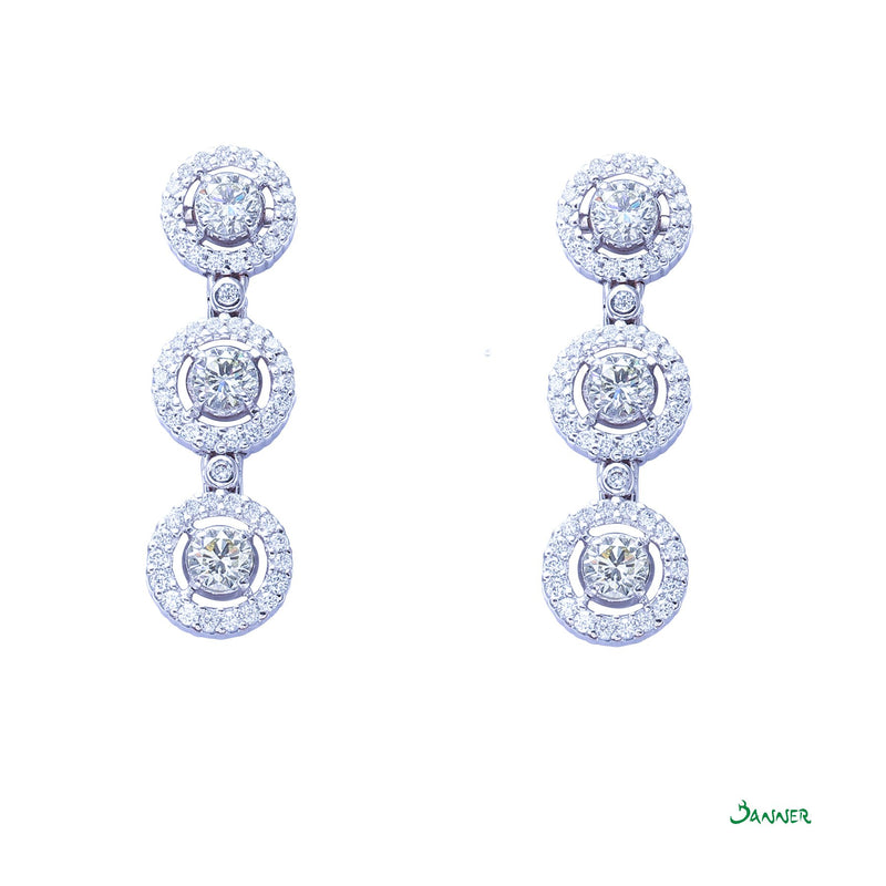 Diamond Halo 3-step Earrings