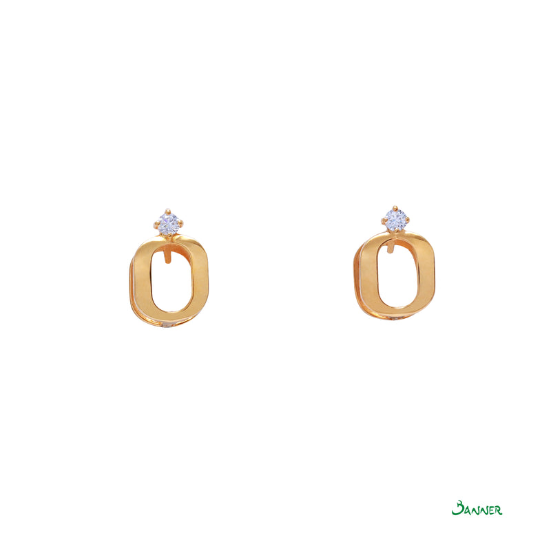 Diamond and 18k Yellow Gold Square Hoop Earrings