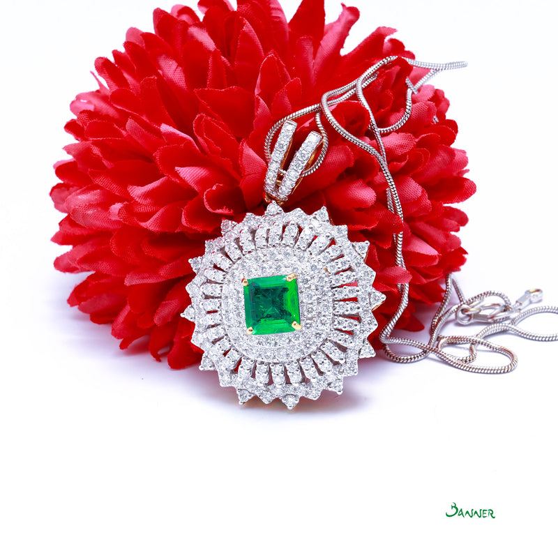 Columbian Emerald and Diamond Pendant