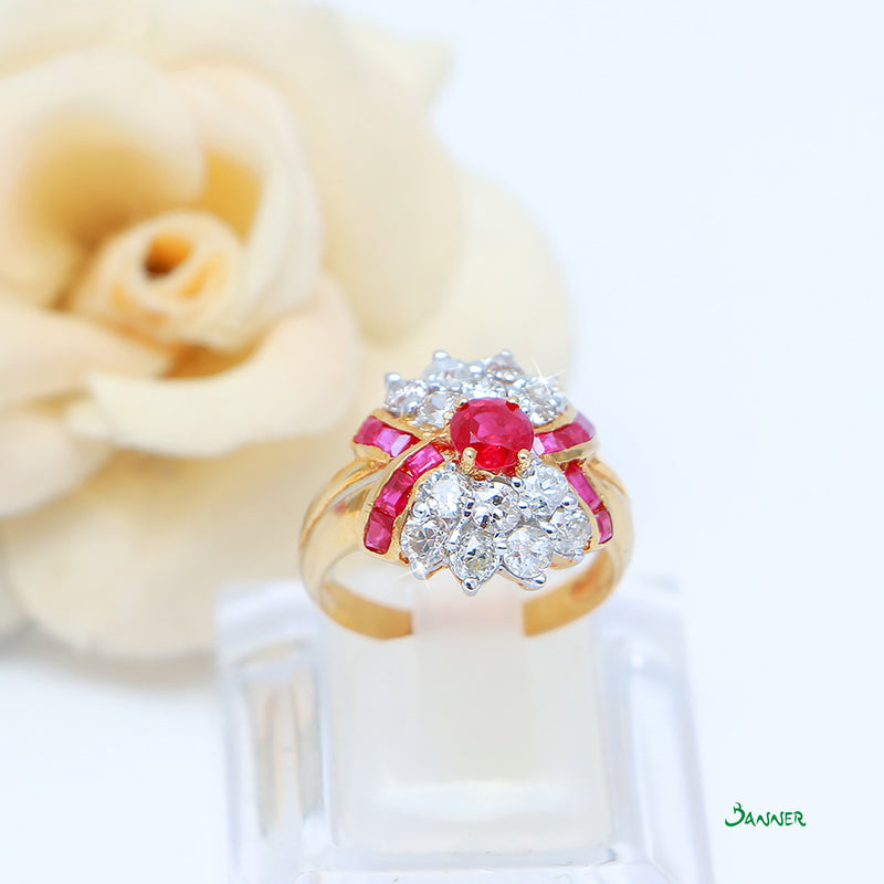 Ruby and Diamond X Shaped Ring