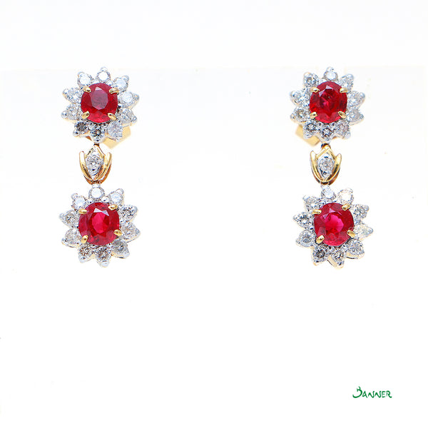 Ruby and Diamond Sunflower Earrings