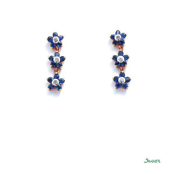 Sapphire and Diamond Pan-Tone-Sint Earrings