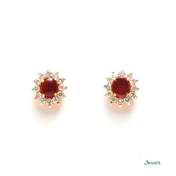Ruby and Diamond Sunflowers Earrings