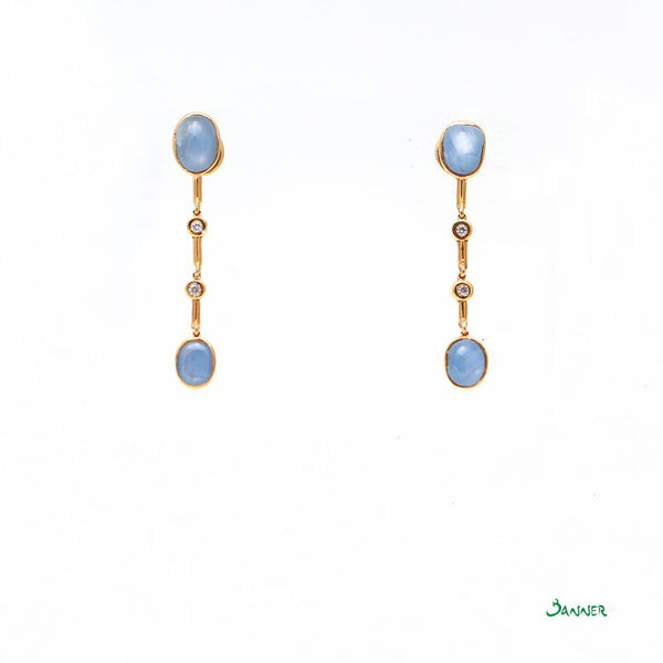 Star Sapphire and Diamond Earrings