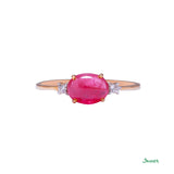 Ruby and Diamond Cabochon Ring