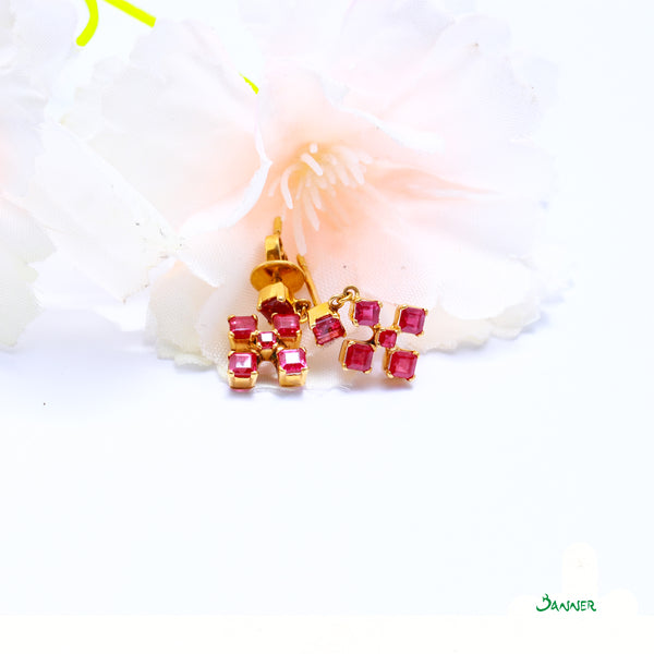 Emerald Cut Ruby Cross Shaped Earring