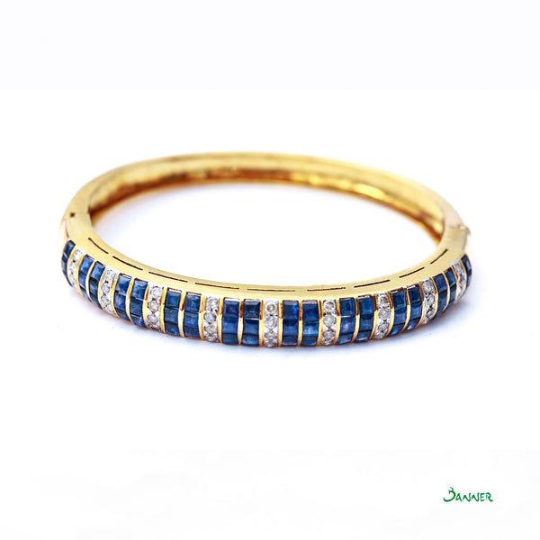 Sapphire Emerald cut and Diamond Bracelet