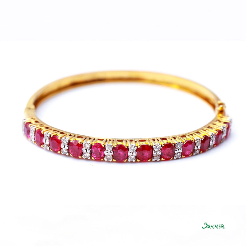Ruby and Diamond Alternating Bracelet