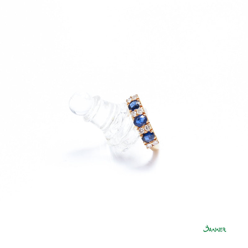 Sapphire and Diamond Alternate Channel Ring