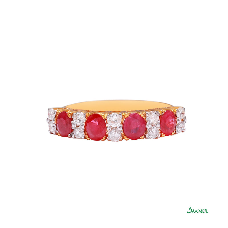 Ruby and Diamond Alternate Channel Ring
