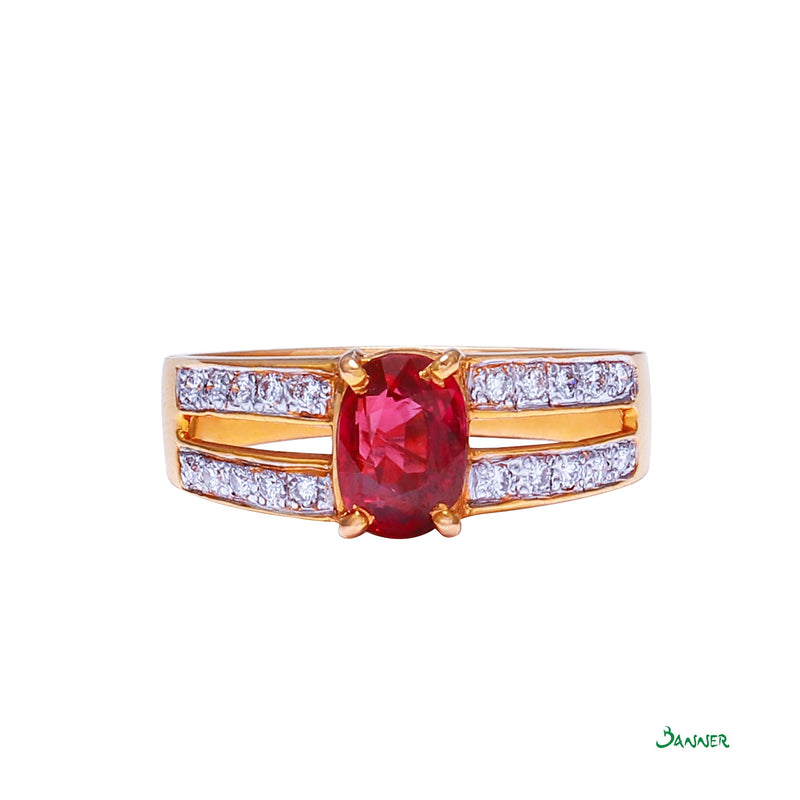 Ruby and Diamond Double Channel Ring