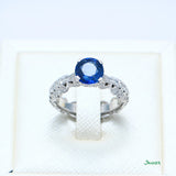 Sapphire and Diamond Solitaire Ring