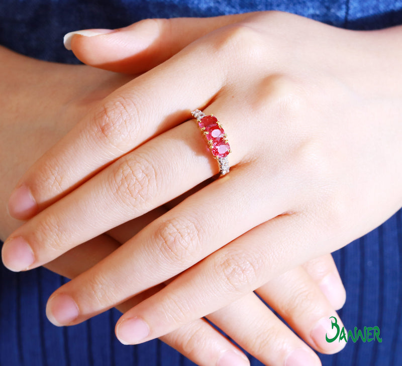 Ruby and Diamond Three Stones Ring