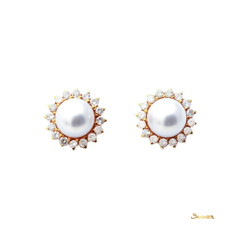 Pearl and Diamond Sunflower Earrings