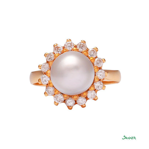 South Sea Pearl and Diamond Sunflower Ring