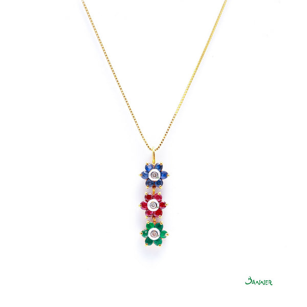 Ruby -Sapphire- Emerald and Diamond Flower Pendant