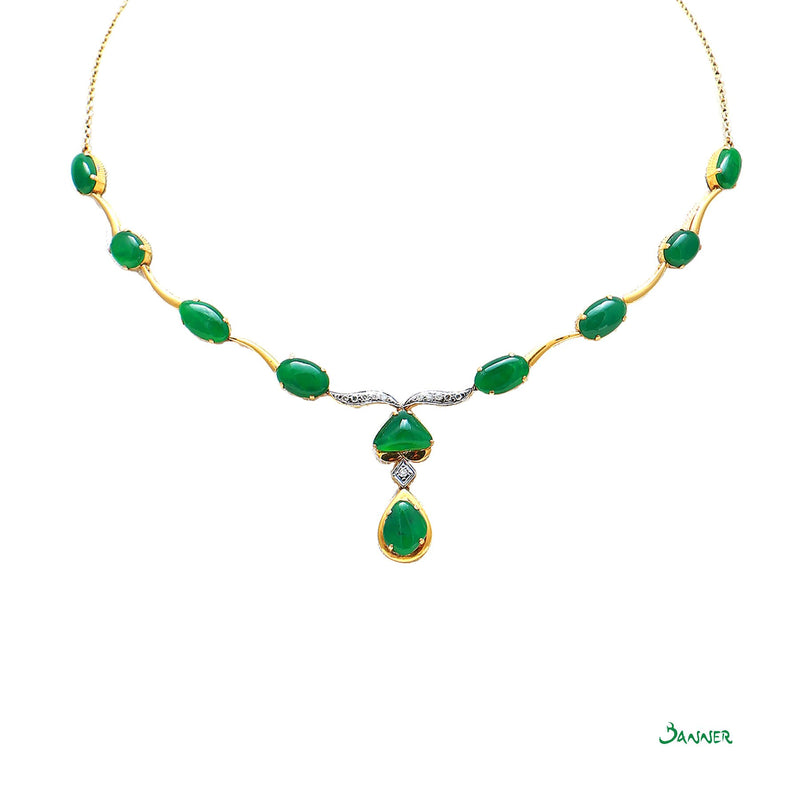 Apple Green Jade and Diamond Necklace
