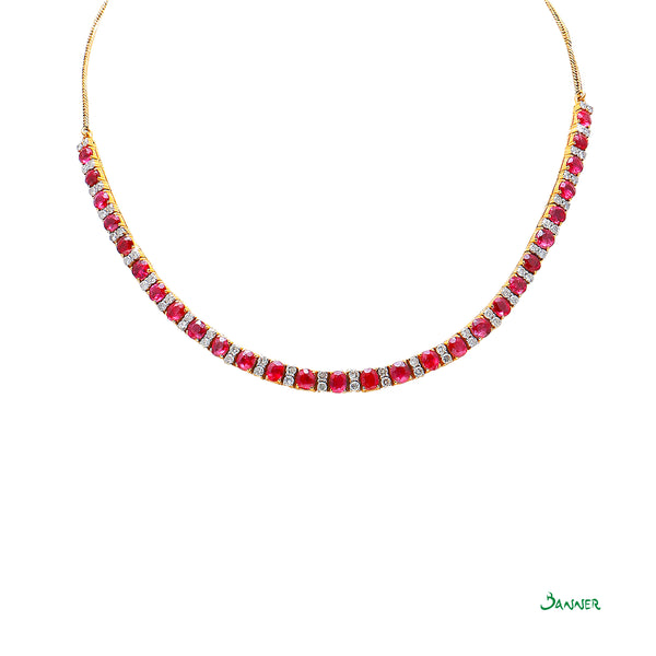 Ruby and Diamond Alternating Necklace