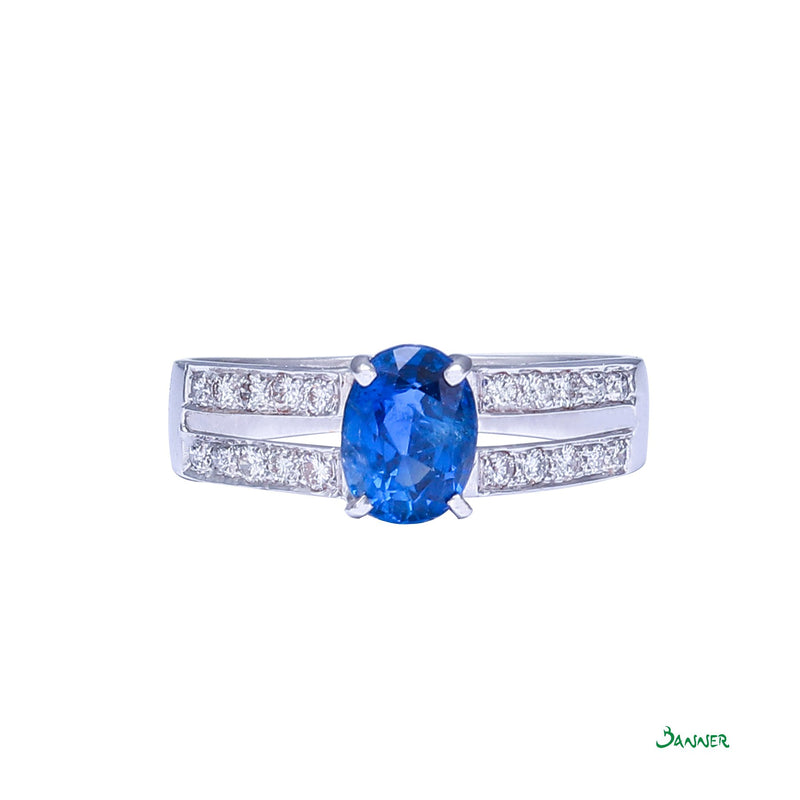 Sapphire and Diamond Double Channel Ring